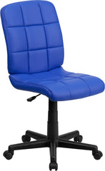 Mid-Back Blue Quilted Vinyl Swivel Task Chair