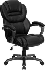 High Back Black Leather Executive Swivel Office Chair with Leather Padded Loop Arms