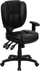 Mid-Back Black Leather Multi-Functional Ergonomic Swivel Task Chair with Height Adjustable Arms