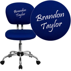Personalized Mid-Back Blue Mesh Swivel Task Chair with Chrome Base