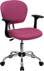 Mid-Back Pink Mesh Swivel Task Chair with Chrome Base and Arms