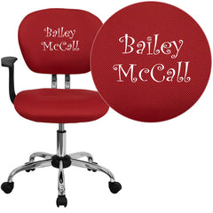 Personalized Mid-Back Red Mesh Swivel Task Chair with Chrome Base and Arms