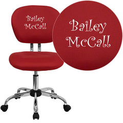 Personalized Mid-Back Red Mesh Swivel Task Chair with Chrome Base