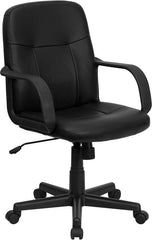 Mid-Back Black Glove Vinyl Executive Swivel Office Chair