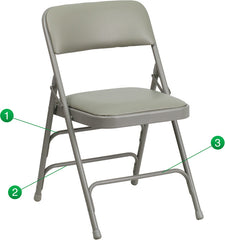 HERCULES Series Curved Triple Braced & Double Hinged Gray Vinyl Upholstered Metal Folding Chair