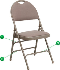 HERCULES Series Extra Large Ultra-Premium Triple Braced Beige Fabric Metal Folding Chair with Easy-Carry Handle