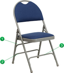 HERCULES Series Extra Large Ultra-Premium Triple Braced Navy Fabric Metal Folding Chair with Easy-Carry Handle