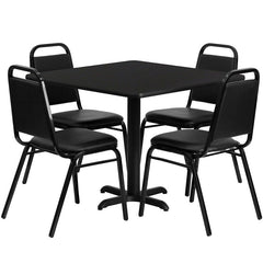 36'' Square Black Laminate Table Set with 4 Black Trapezoidal Back Banquet Chairs