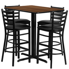 24''W x 42''L Rectangular Walnut Laminate Table Set with 4 Ladder Back Metal Bar Stools - Black Vinyl Seat