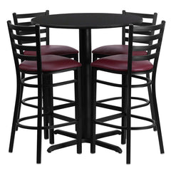 30'' Round Black Laminate Table Set with 4 Ladder Back Metal Bar Stools - Burgundy Vinyl Seat