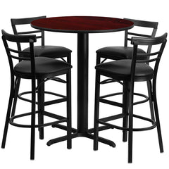 24'' Round Mahogany Laminate Table Set with 4 Ladder Back Metal Bar Stools - Black Vinyl Seat