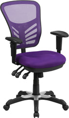 Mid-Back Purple Mesh Swivel Task Chair with Triple Paddle Control