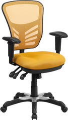 Mid-Back Yellow-Orange Mesh Swivel Task Chair with Triple Paddle Control