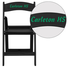 Personalized HERCULES Series 1000 lb. Capacity Black Resin Folding Chair with Black Vinyl Padded Seat