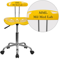 Personalized Vibrant Orange-Yellow and Chrome Task Chair with Tractor Seat