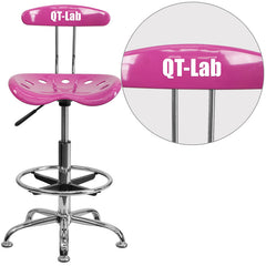 Personalized Vibrant Candy Heart and Chrome Drafting Stool with Tractor Seat