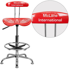 Personalized Vibrant Cherry Tomato and Chrome Drafting Stool with Tractor Seat