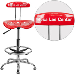 Personalized Vibrant Red and Chrome Drafting Stool with Tractor Seat