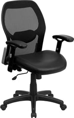 Mid-Back Black Super Mesh Executive Swivel Office Chair with Leather Padded Seat