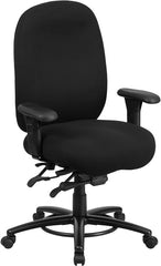 HERCULES Series 24/7 Intensive Use, Multi-Shift, Big & Tall 350 lb. Capacity Black Fabric Multi-Functional Swivel Chair with Foot Ring