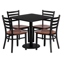 30'' Square Black Laminate Table Set with 4 Ladder Back Metal Chairs - Cherry Wood Seat