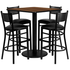 36'' Square Walnut Laminate Table Set with 4 Grid Back Metal Bar Stools - Black Vinyl Seat