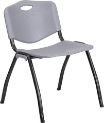 HERCULES Series 880 lb. Capacity Gray Plastic Stack Chair with Black Frame