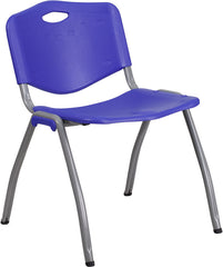 HERCULES Series 880 lb. Capacity Navy Plastic Stack Chair with Gray Frame