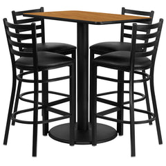 24'' x 42'' Rectangular Natural Laminate Table Set with 4 Ladder Back Metal Bar Stools - Black Vinyl Seat