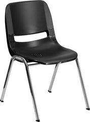 HERCULES Series 440 lb. Capacity Black Ergonomic Shell Stack Chair with Chrome Frame and 14'' Seat Height
