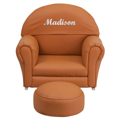 Personalized Kids Brown Vinyl Rocker Chair and Footrest