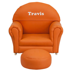 Personalized Kids Orange Vinyl Rocker Chair and Footrest