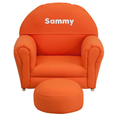 Personalized Kids Orange Fabric Rocker Chair and Footrest