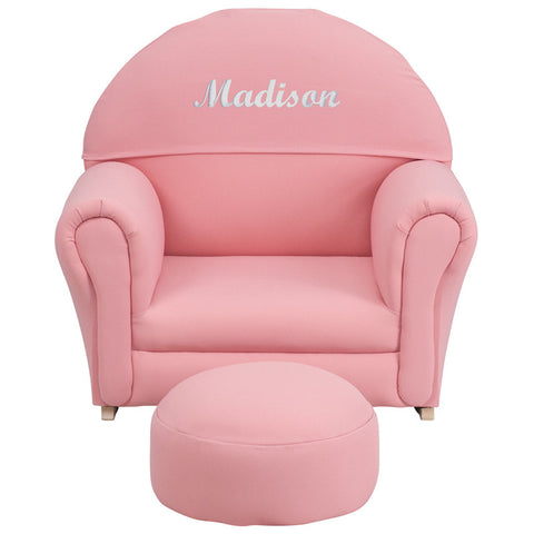 Super Personalized Kids Pink Fabric Rocker Chair And Footrest Wb Creativecarmelina Interior Chair Design Creativecarmelinacom