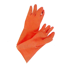 Orange Flock-Lined Gloves