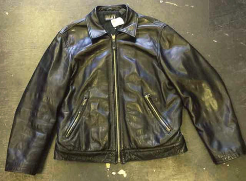 VINTAGE LEATHER LEGACY RIDING JACKET by DKNY