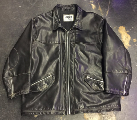 VINTAGE LEGACY LEATHER RIDING JACKET by RUGBY NORTH AMERICA