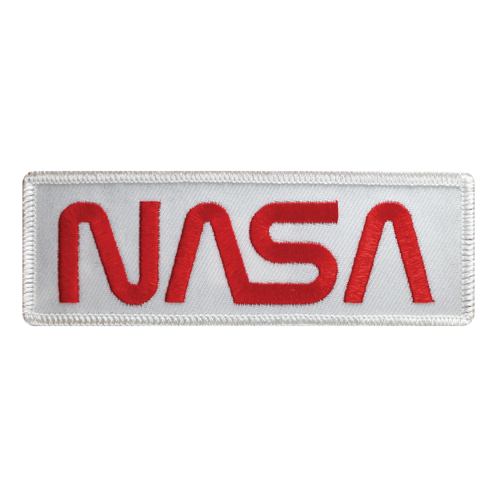 NASA Worm Red on White Twill - Space Patches