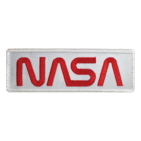 NASA Worm Red on White Twill