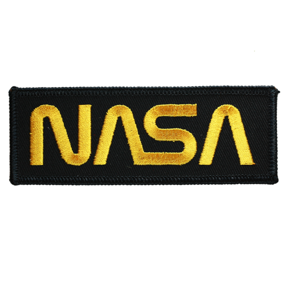 NASA Worm Gold on Black Twill - Space Patches