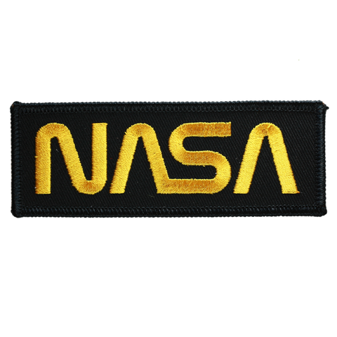 NASA Worm Gold on Black Twill
