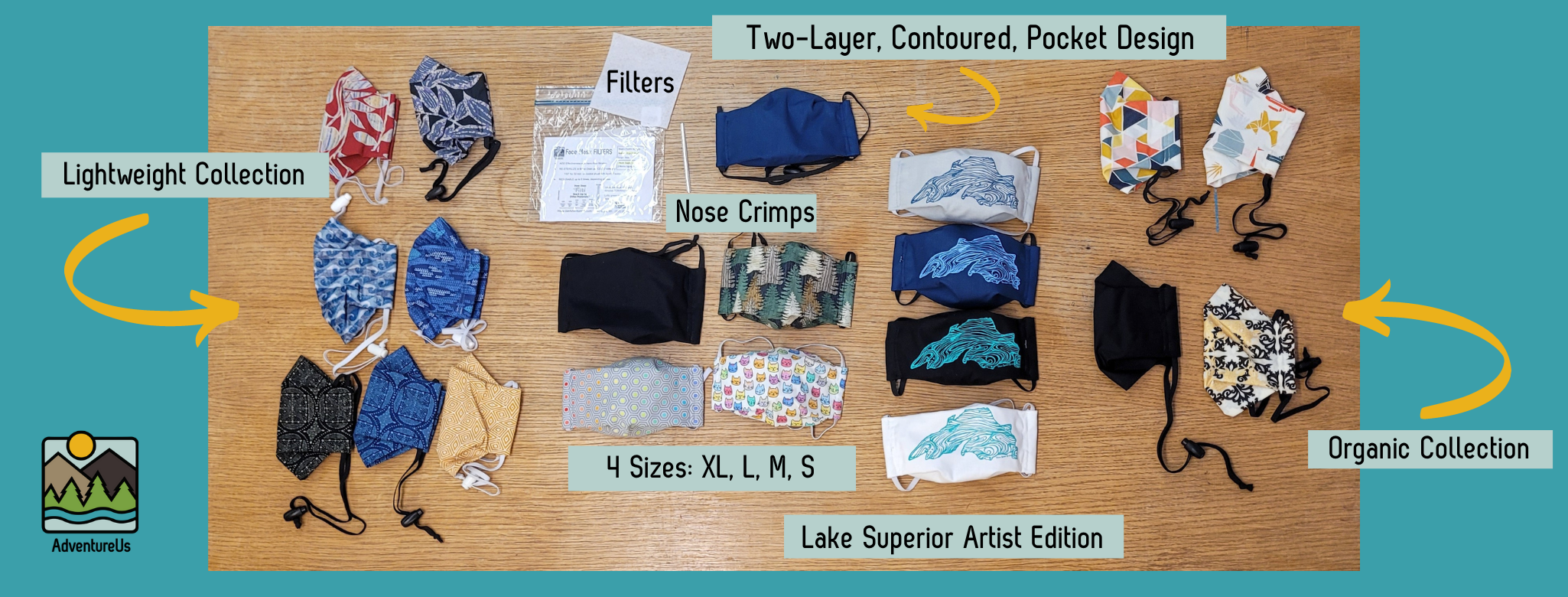 AdventureUs' comfort designed face masks are made right in Northern Wisconsin with our community in mind.  With over 8,000 made, AdventureUs has you covered.