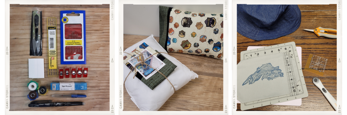 Three images: AdventureUs Sewing Kit, National Parks Fabric Pillow Kit, and Lake Superior Sew on Patch
