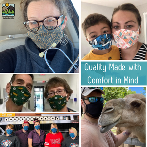 AdventureUs Midwest Made Lightweight Organic Face Masks are designed for all-day comfort and sized for the whole family.
