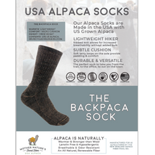 Load image into Gallery viewer, Backpacka Alpaca Socks are perfect for your adventure- Cozy, USA Made, Natural, Made to Last!Backpacka Alpaca Socks are perfect for your adventure- Cozy, USA Made, Natural, Made to Last!