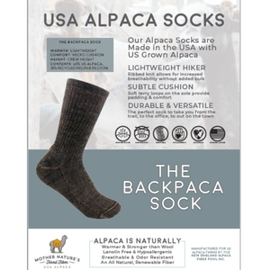 Backpacka Alpaca Socks are perfect for your adventure- Cozy, USA Made, Natural, Made to Last!Backpacka Alpaca Socks are perfect for your adventure- Cozy, USA Made, Natural, Made to Last!
