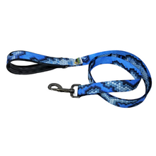 Load image into Gallery viewer, AdventureUs Dog Leash Blue Tango Hex Cam- This unique hexagon camo print is funky and fun!  If your style is screaming to be bold and strong, this unique camouflage print is for you and your furry friend.