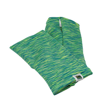 Load image into Gallery viewer, Snow Sleeves Hot Green Sport- This lime and turquoise striated print is sure to be seen.  Stay safe during outside adventures with this bright print that is perfect for low winter light conditions, plus it's super cool!
