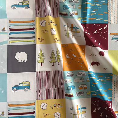 This fun camping themed fabric is perfect for quilting, patching, curtains, bags and more!  This print features 4