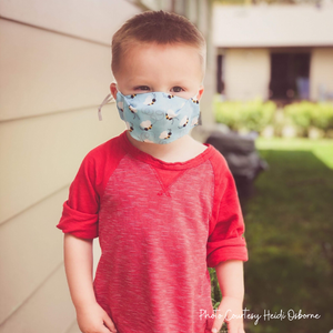 Pocketed style Face Masks designed for comfort and optional filter.  Child size fits toddlers to age 7 years.